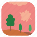 autumn, fall, field, leaf, nature, tree icon
