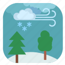 forest, tree, wind, winter icon