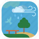 cloud, nature, park, rain, seasons, spring icon