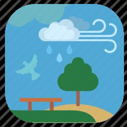 cloud, nature, park, rain, seasons, spring icon
