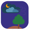 field, night, spring, tree icon