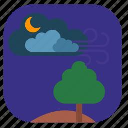 field, night, spring, tree icon