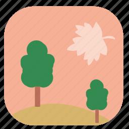 leaf, nature, summer, sunset, tree icon