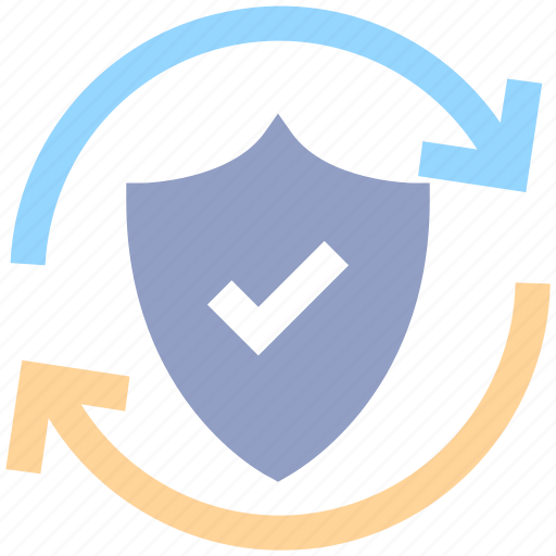 antivirus, loading, privacy, protection shield, security, shield, sync icon