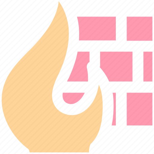 brick, fire, firewall, flame, network, security, wall icon