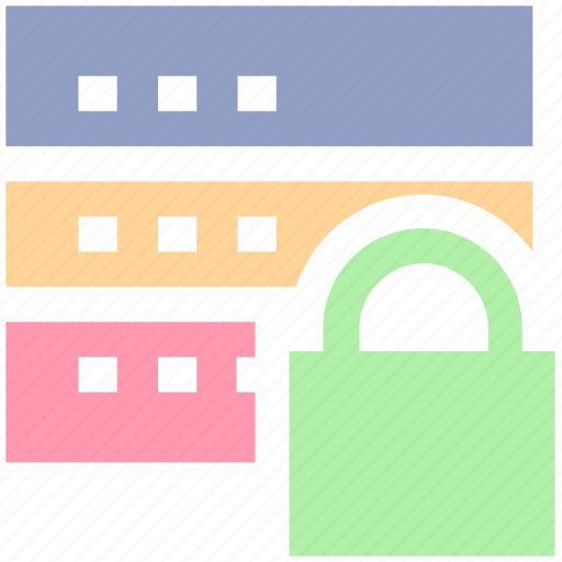 data protection, network security, secure database, server locked, server security icon