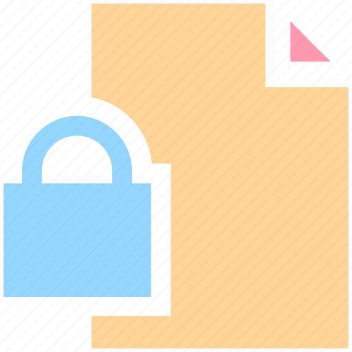 document, file, lock, locked, paper, secure page, security paper icon