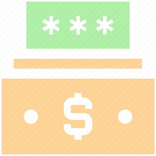 cash, dollar, money code, password, safe money, security icon
