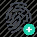 add, data, fingerprints, monitoring, optimisation, protection, security icon