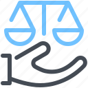 court, hand, justice, law, scales icon