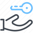 hand, key, lock, protection, security icon