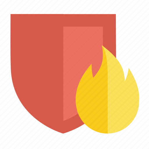 burn, fire, flame, protection, secure, security, shield icon