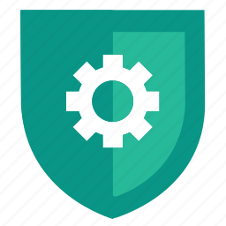 configuration, gear, protection, secure, security, settings, shield icon