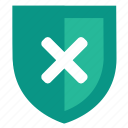 broken, cross, denied, privacy, protect, security, shield icon