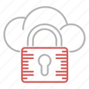 cloud, padlock, protection, security icon