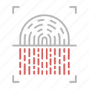 finger, fingerprint, protection, scanner, security icon