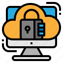 cloud, padlock, secure, security icon