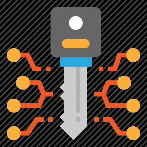 access, digital, key, security icon