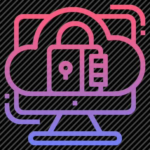 cloud, padlock, secure, security icon