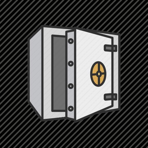 bank vault, open vault, safety deposit box, vault icon