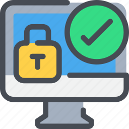computer, padlock, protection, secure, security icon