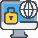 computer, global, padlock, protection, secure, security icon