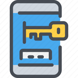 key, mobile, protection, secure, security, smartphone icon