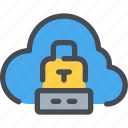 cloud, padlock, protection, secure, security icon