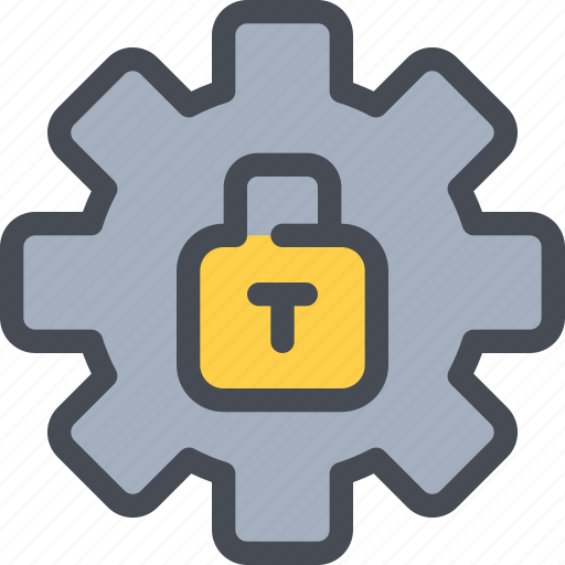 gear, padlock, process, protection, secure, security icon