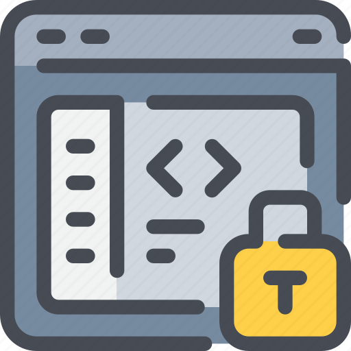coding, development, padlock, protection, secure, security icon
