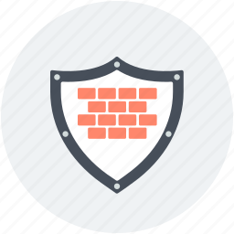 bricks, firewall, protection, security wall, shield sign icon