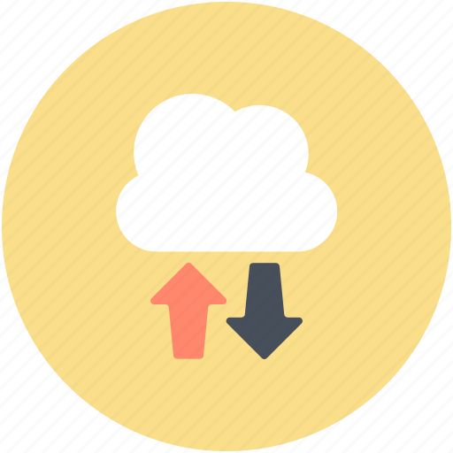 cloud computing, cloud download, cloud hosting, cloud network, cloud upload icon