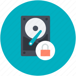 data protection, data storage device, hard disk, lock sign icon