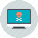 computer screen, danger sign, jolly roger, mobile net, pirate sign