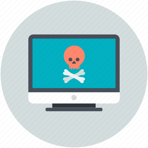 computer screen, danger sign, jolly roger, mobile net, pirate sign icon