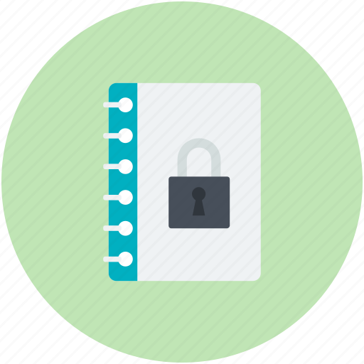 data security, diary, lock sign, privacy concept icon