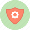 digital security system, digital system, shield cogs, shield gear, shield with gear icon
