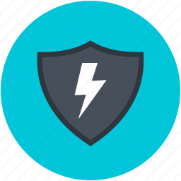 high voltage, indicating, lightning, shield, warning sign icon