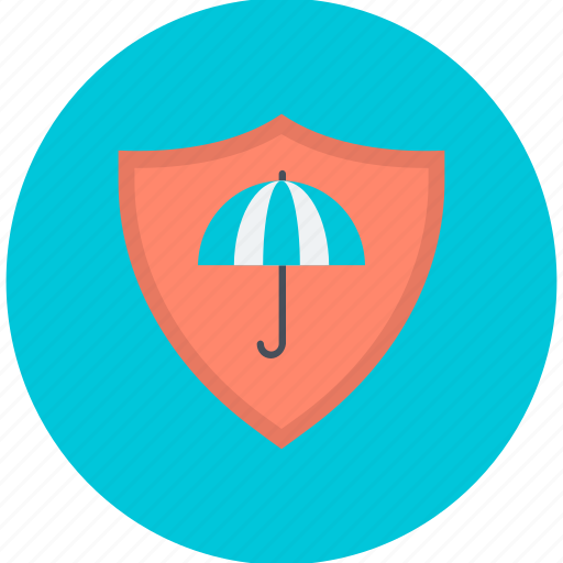 defense, protection, security, shield, umbrella with shield icon
