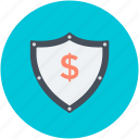dollar shield, dollars with shield, financial protection, money protection icon