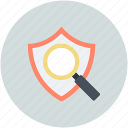 browsing, magnifying guard, protect, safeguard, search shield icon