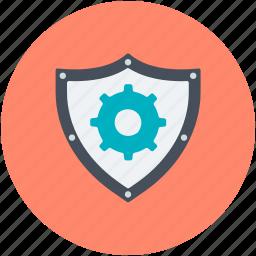cog, cogwheel, gear, gearwheel, shield setting icon