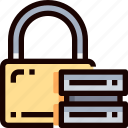 database, padlock, protection, secure, security, server icon