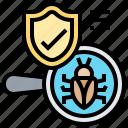 antivirus, malware, scan, shield, software icon