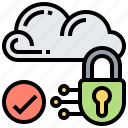 cloud, locked, protection, secured, storage icon
