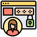 account, identification, login, password, privacy icon