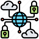cloud, linked, network, protection, secured icon