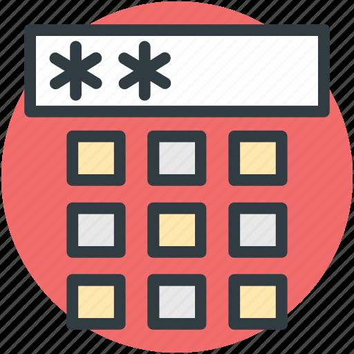 combination lock, dial pad, enter code, numeric pad, security code icon