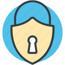 padlock, password, privacy, security, shield shape icon