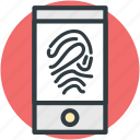 biometric, digital security, fingerprint representation, lock sign, security concept icon